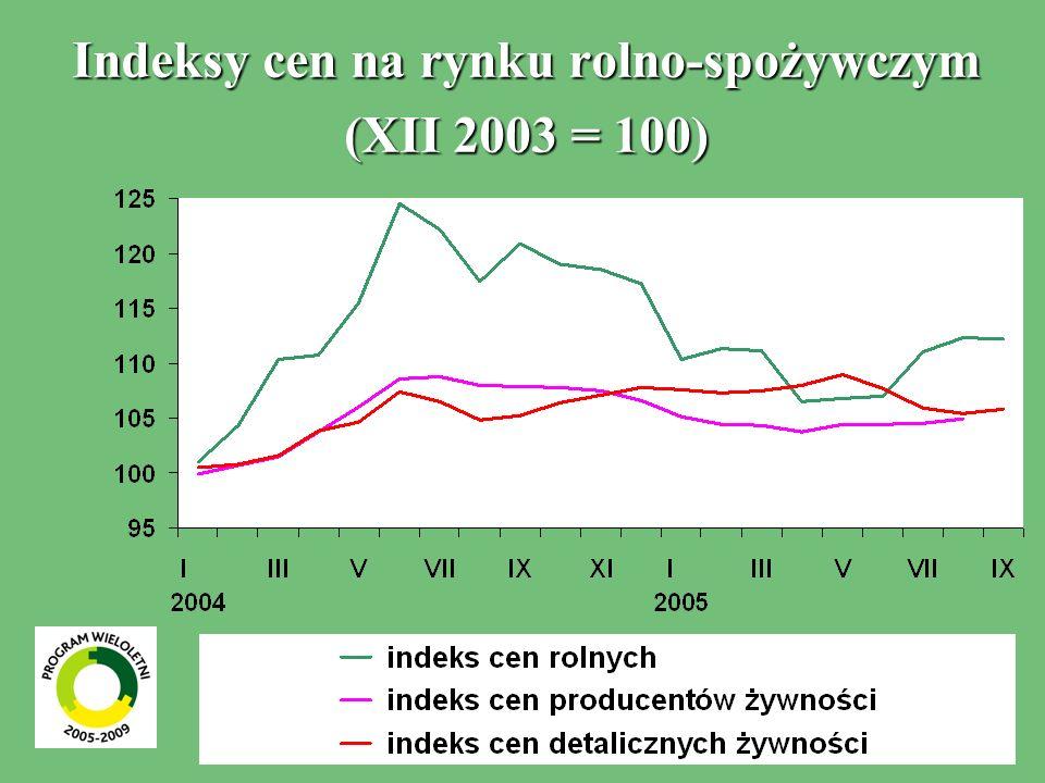 Indeksy cen na rynku rolno-spożywczym (XII 2003 = 100)