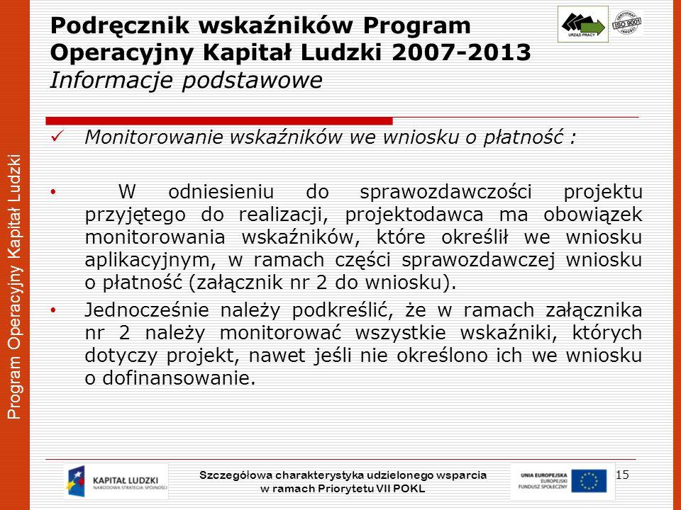 Podręcznik wskaźników Program Operacyjny Kapitał Ludzki 2007-2013 Informacje podstawowe