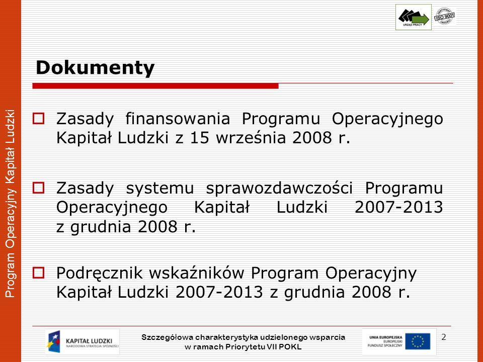 Dokumenty Zasady finansowania Programu Operacyjnego Kapitał Ludzki z 15 września 2008 r.
