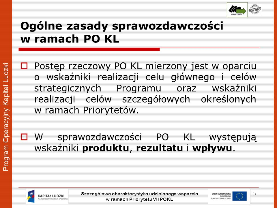 Ogólne zasady sprawozdawczości w ramach PO KL
