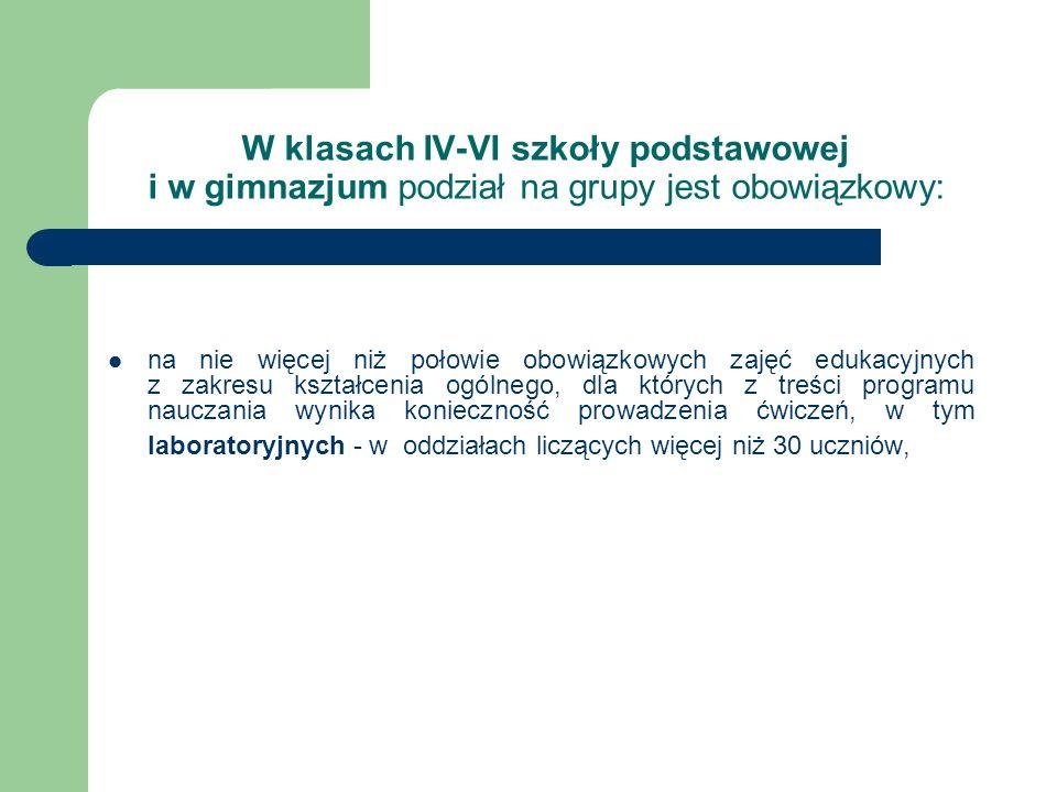 W klasach IV-VI szkoły podstawowej i w gimnazjum podział na grupy jest obowiązkowy: