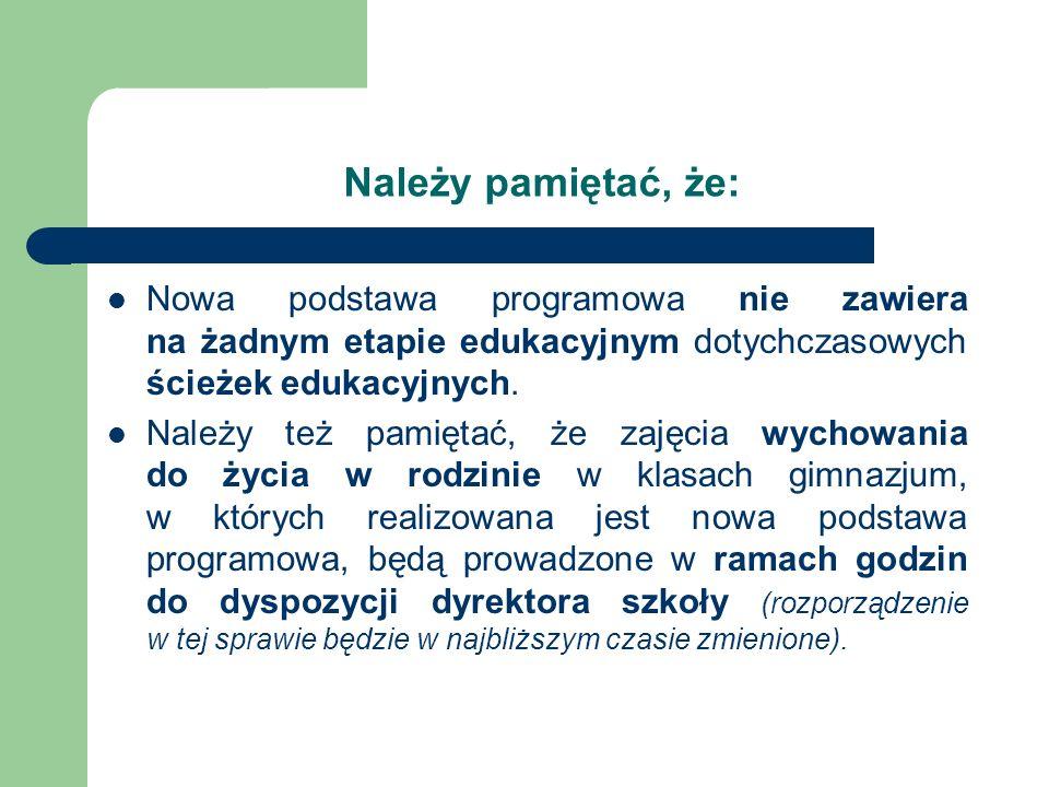 Należy pamiętać, że: Nowa podstawa programowa nie zawiera na żadnym etapie edukacyjnym dotychczasowych ścieżek edukacyjnych.