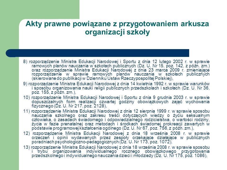 Akty prawne powiązane z przygotowaniem arkusza organizacji szkoły