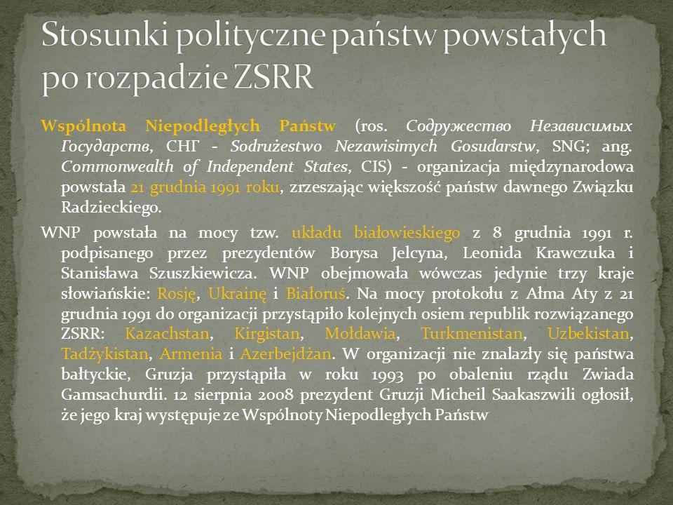Stosunki polityczne państw powstałych po rozpadzie ZSRR