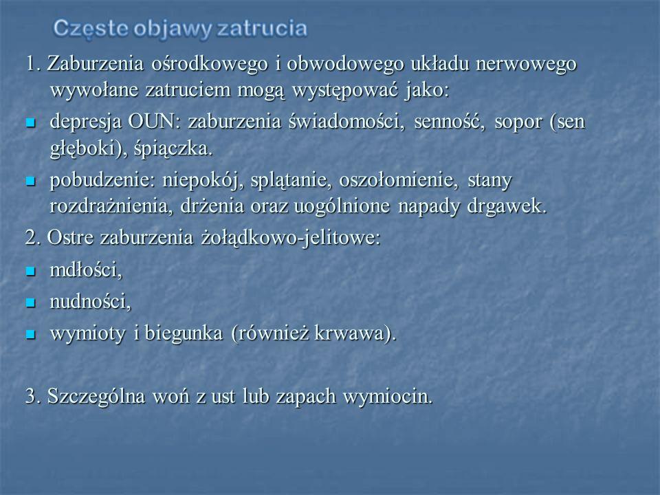 1. Zaburzenia ośrodkowego i obwodowego układu nerwowego wywołane zatruciem mogą występować jako: