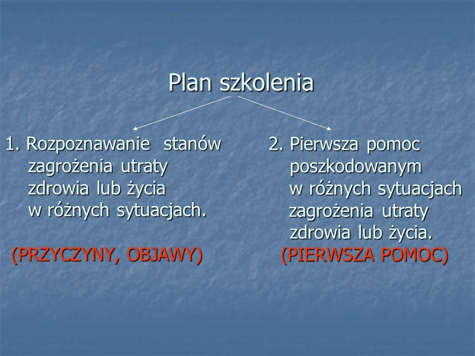 Plan szkolenia 1. Rozpoznawanie stanów zagrożenia utraty zdrowia lub życia w różnych sytuacjach. (PRZYCZYNY, OBJAWY)