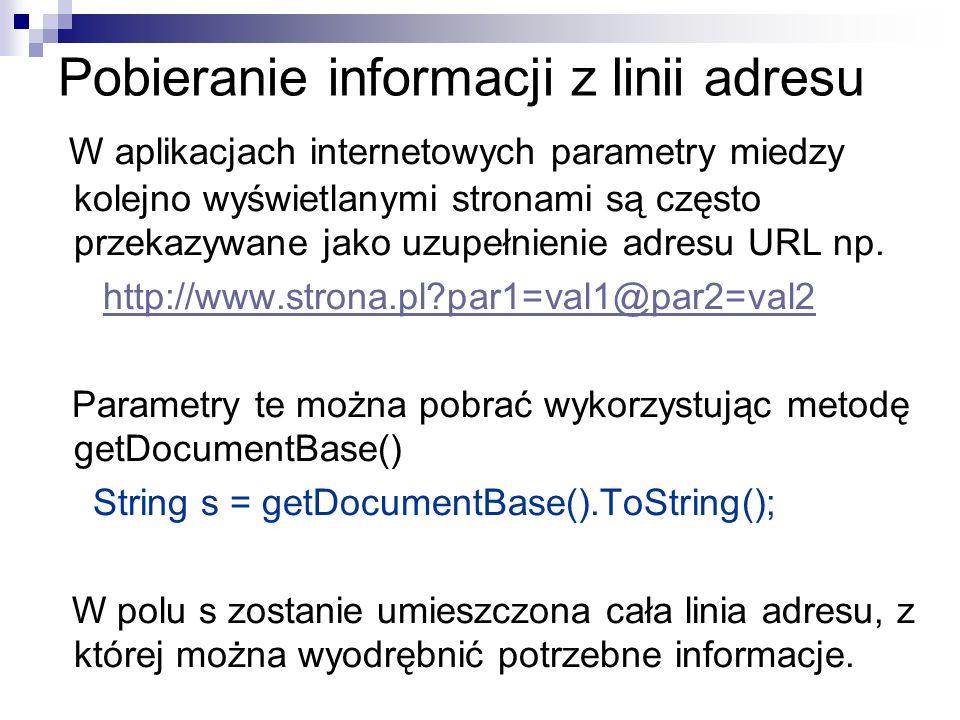 Pobieranie informacji z linii adresu