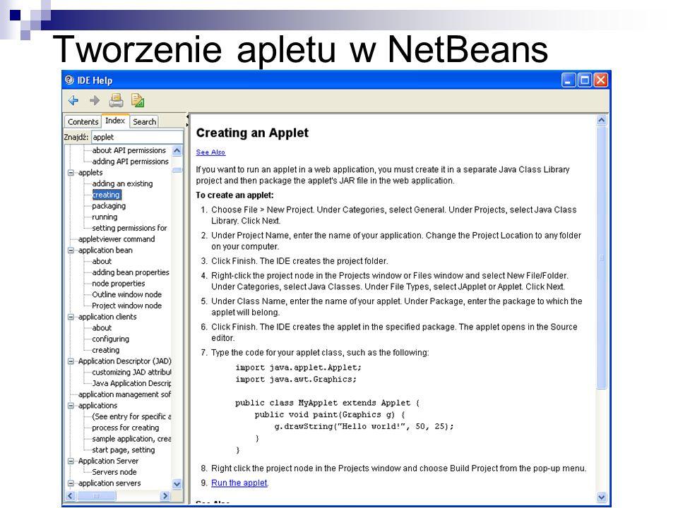 Tworzenie apletu w NetBeans
