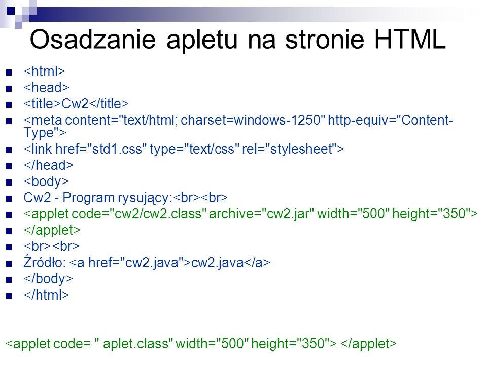 Osadzanie apletu na stronie HTML