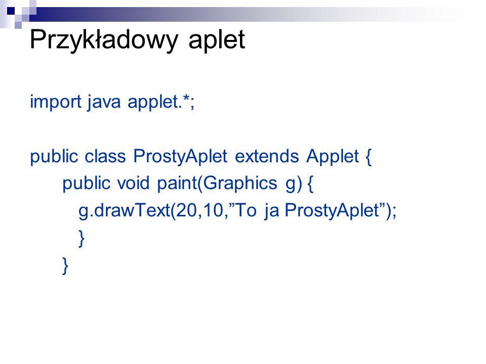 Przykładowy aplet import java applet.*;