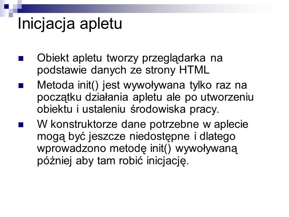 Inicjacja apletu Obiekt apletu tworzy przeglądarka na podstawie danych ze strony HTML.