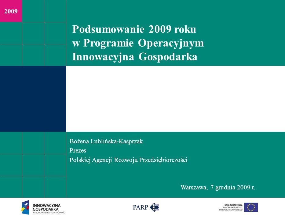 Podsumowanie 2009 roku w Programie Operacyjnym Innowacyjna Gospodarka