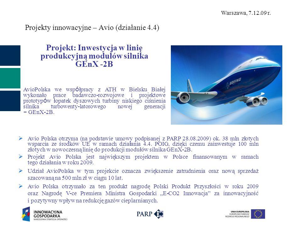 Projekty innowacyjne – Avio (działanie 4.4)