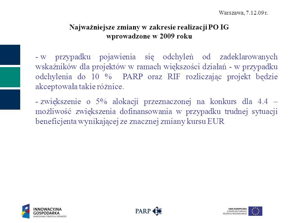 Najważniejsze zmiany w zakresie realizacji PO IG wprowadzone w 2009 roku