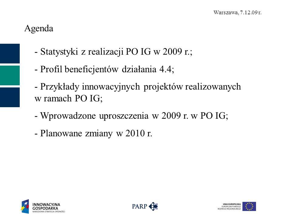 Agenda - Statystyki z realizacji PO IG w 2009 r.; - Profil beneficjentów działania 4.4;