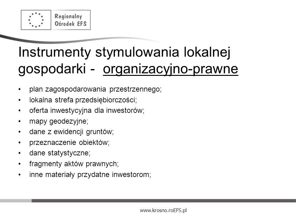 Instrumenty stymulowania lokalnej gospodarki - organizacyjno-prawne