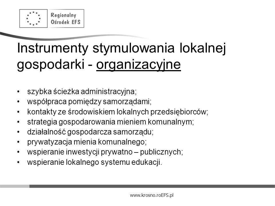 Instrumenty stymulowania lokalnej gospodarki - organizacyjne