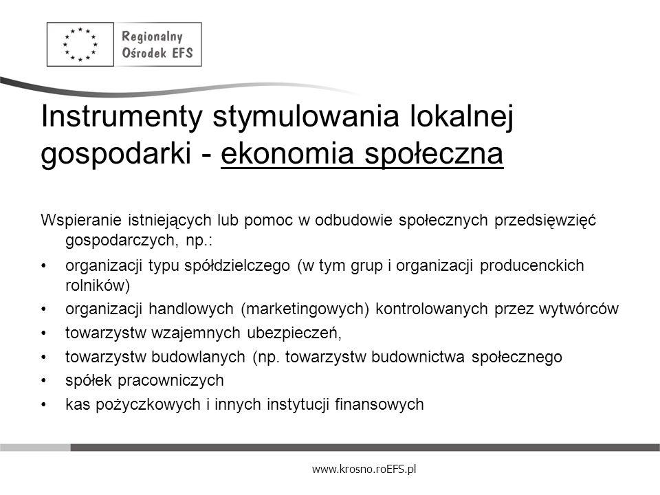 Instrumenty stymulowania lokalnej gospodarki - ekonomia społeczna