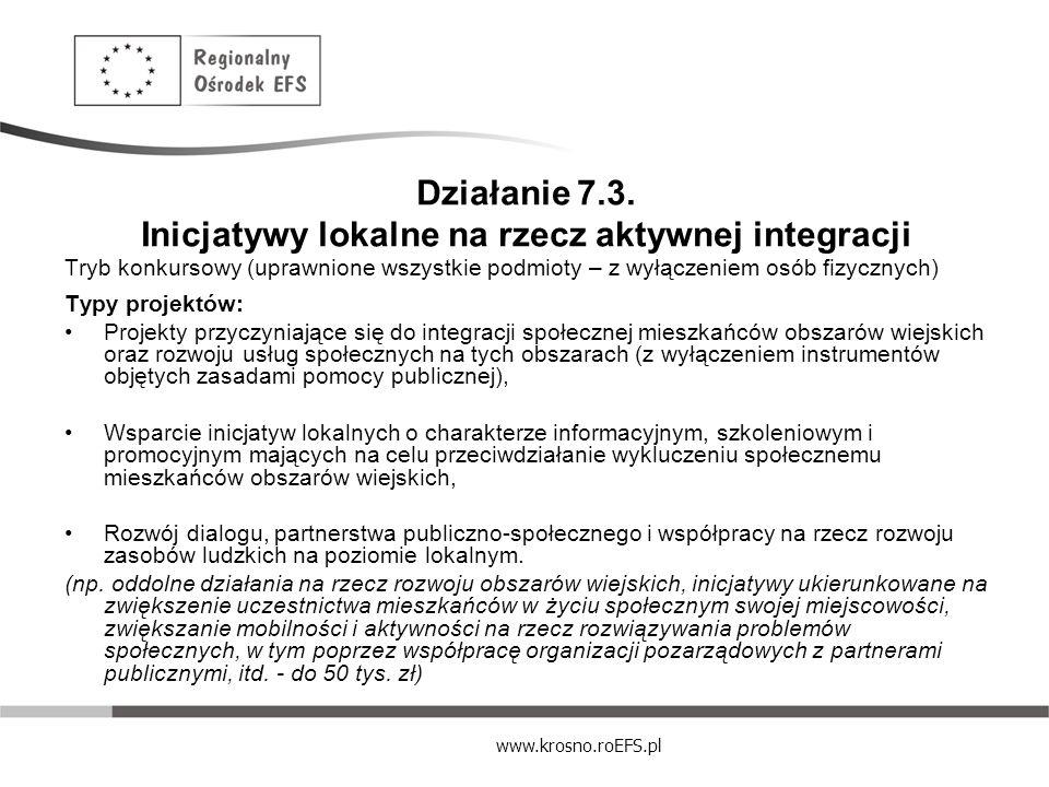 Działanie 7.3. Inicjatywy lokalne na rzecz aktywnej integracji