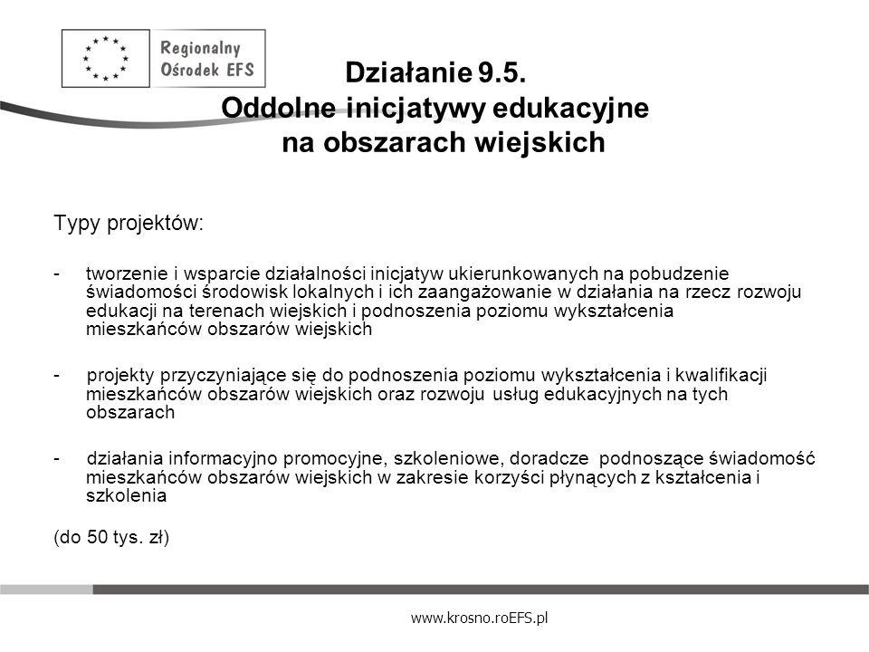 Działanie 9.5. Oddolne inicjatywy edukacyjne na obszarach wiejskich