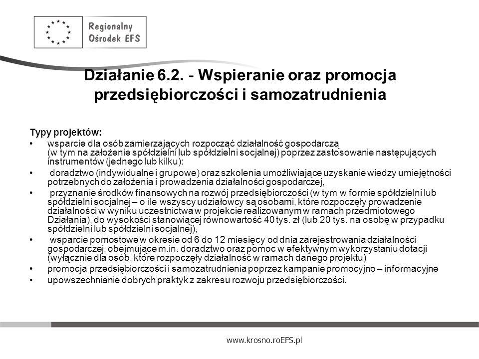 Działanie 6.2. - Wspieranie oraz promocja przedsiębiorczości i samozatrudnienia