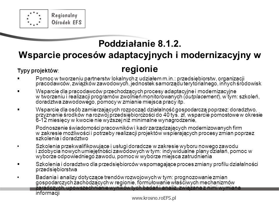 Poddziałanie 8.1.2. Wsparcie procesów adaptacyjnych i modernizacyjny w regionie