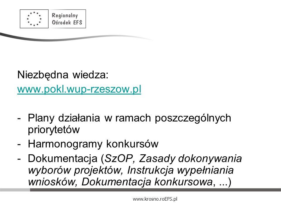 Niezbędna wiedza:www.pokl.wup-rzeszow.pl. Plany działania w ramach poszczególnych priorytetów. Harmonogramy konkursów.