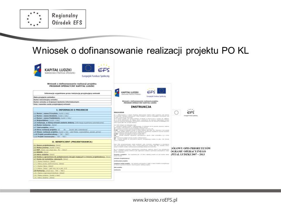 Wniosek o dofinansowanie realizacji projektu PO KL