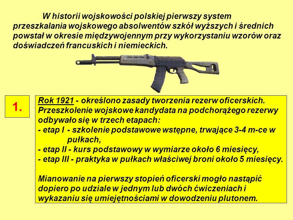 W historii wojskowości polskiej pierwszy system przeszkalania wojskowego absolwentów szkół wyższych i średnich powstał w okresie międzywojennym przy wykorzystaniu wzorów oraz doświadczeń francuskich i niemieckich.