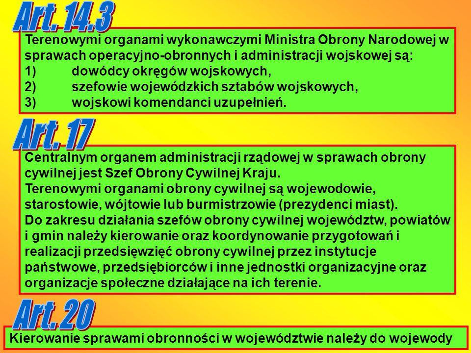 Art. 14.3 Terenowymi organami wykonawczymi Ministra Obrony Narodowej w sprawach operacyjno-obronnych i administracji wojskowej są:
