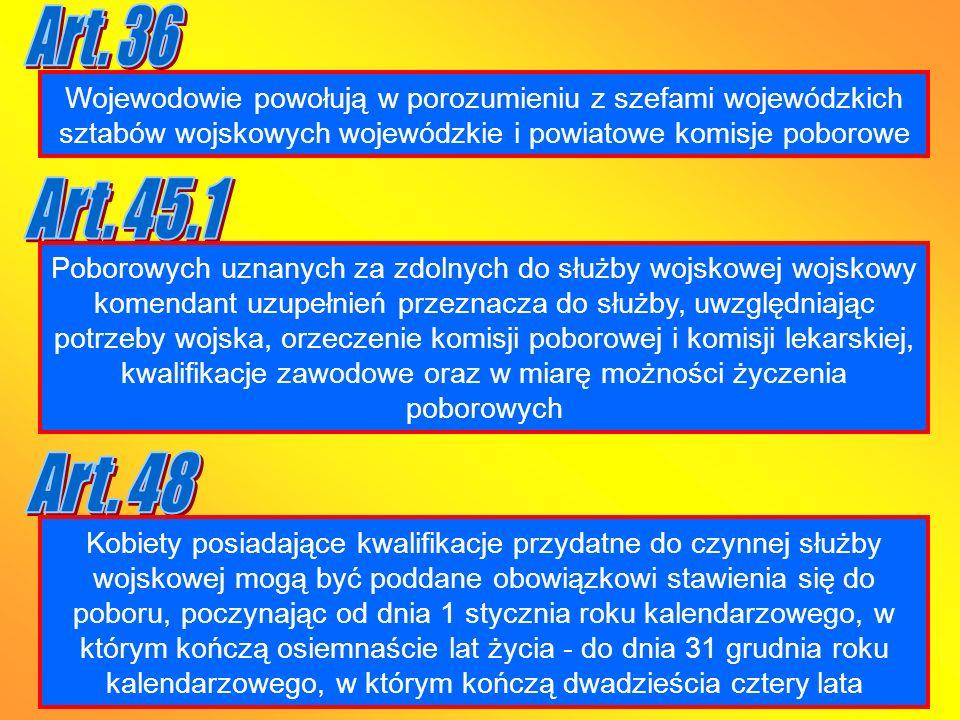 Art. 36 Wojewodowie powołują w porozumieniu z szefami wojewódzkich sztabów wojskowych wojewódzkie i powiatowe komisje poborowe.