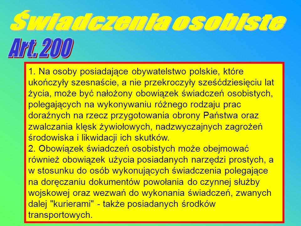 Świadczenia osobiste Art. 200