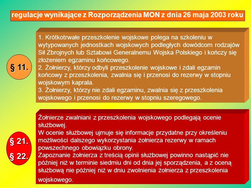 regulacje wynikające z Rozporządzenia MON z dnia 26 maja 2003 roku