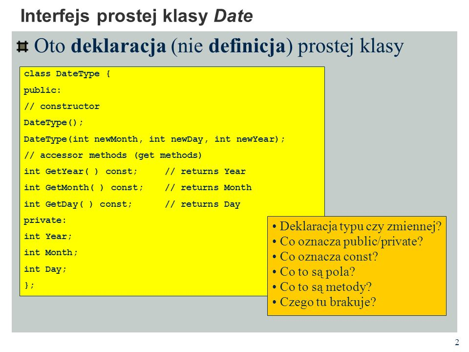 Interfejs prostej klasy Date