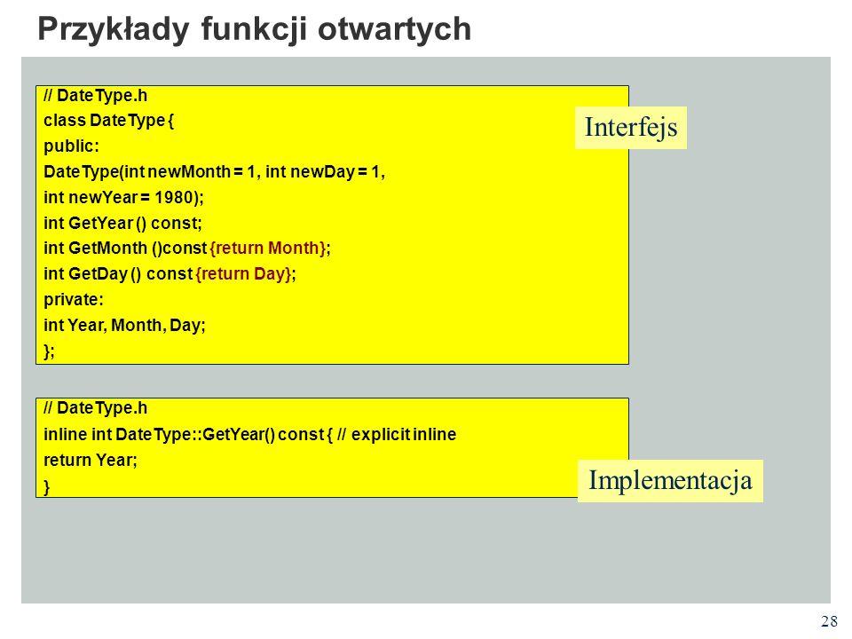 Przykłady funkcji otwartych