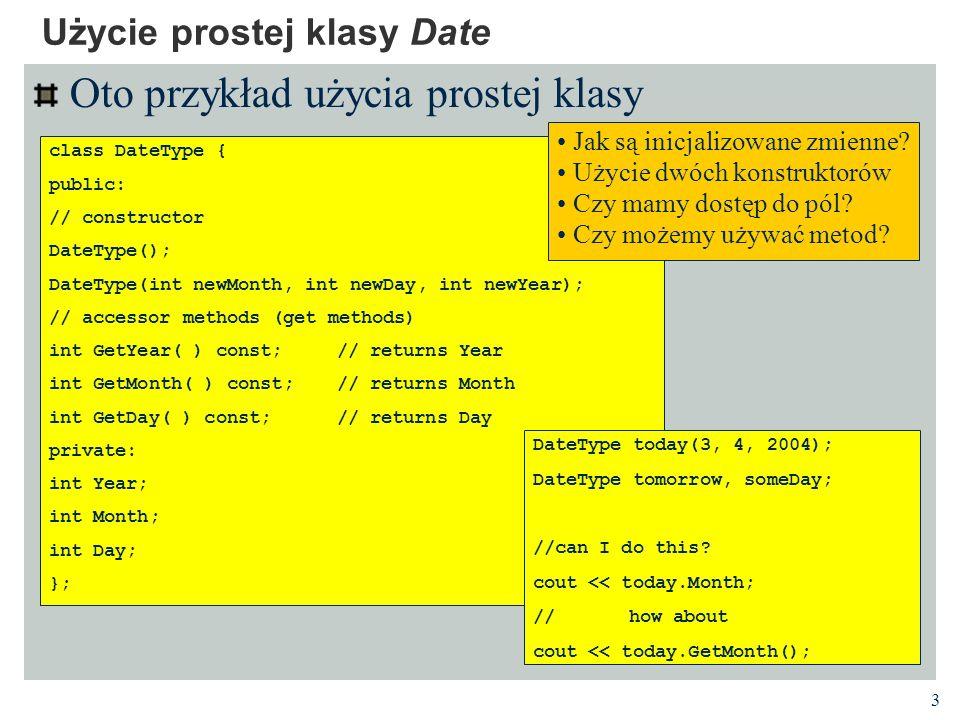 Użycie prostej klasy Date