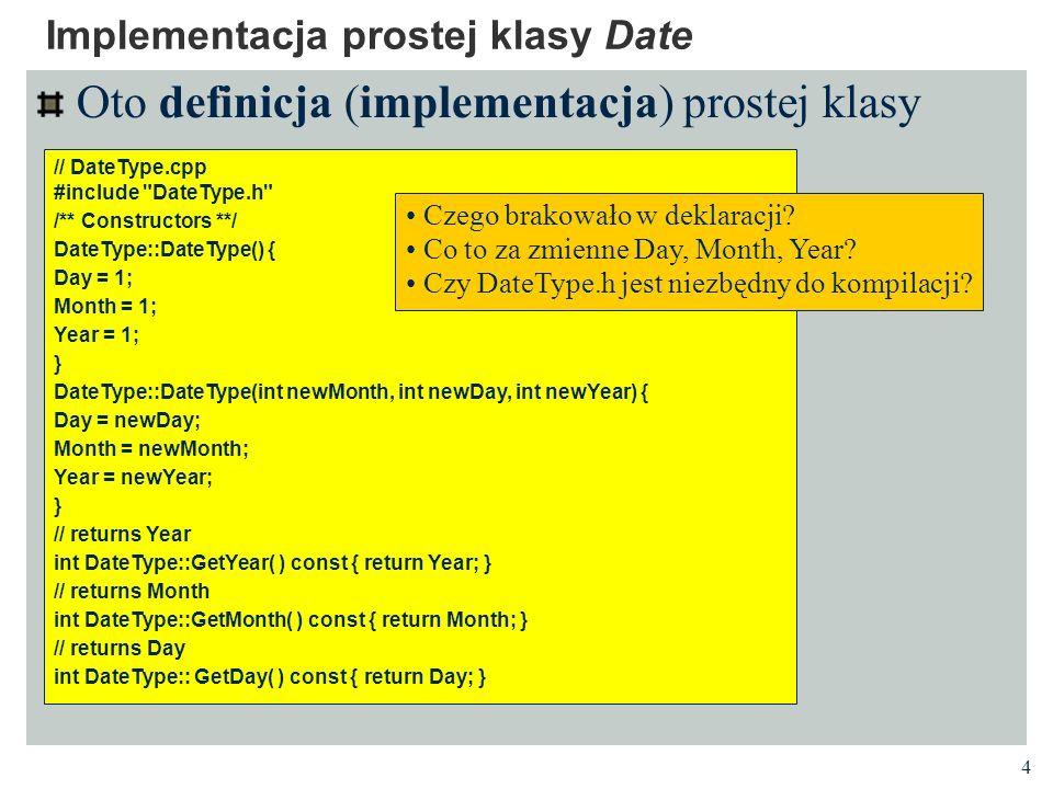 Implementacja prostej klasy Date