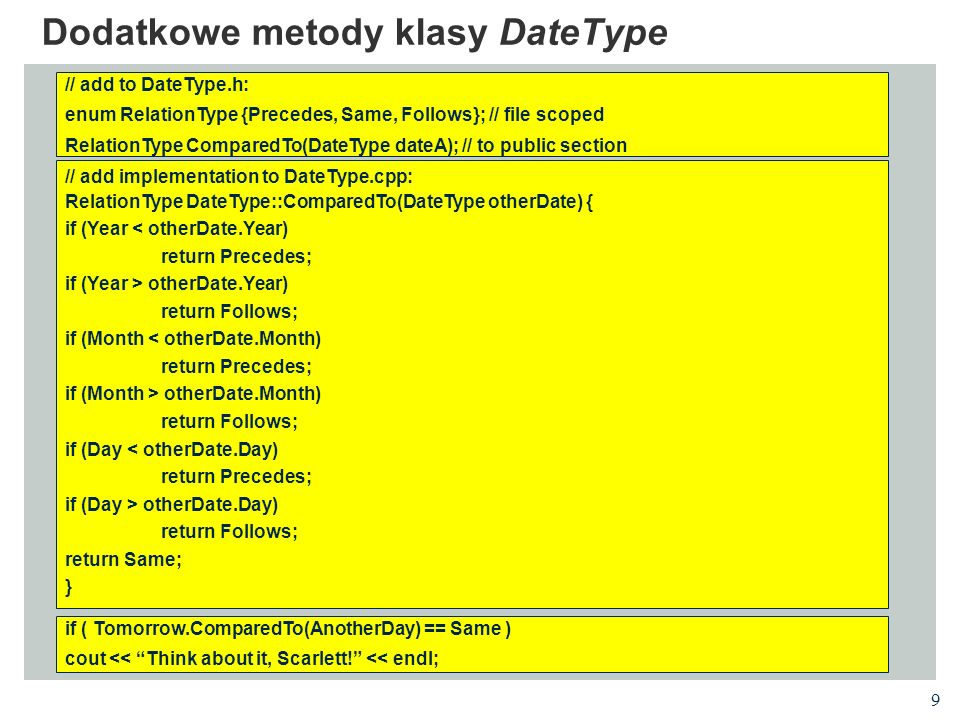 Dodatkowe metody klasy DateType