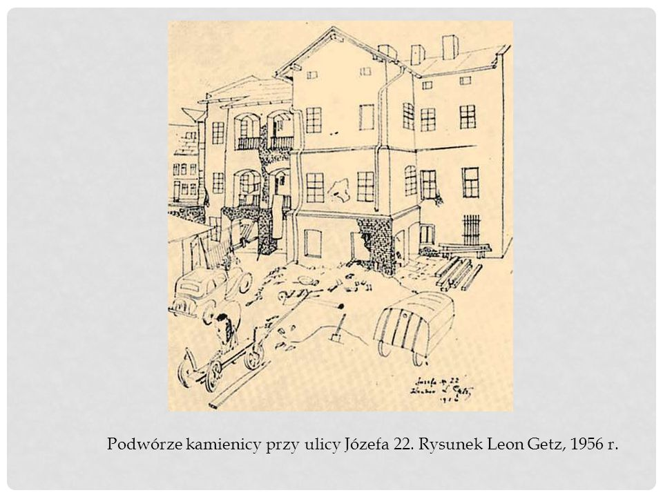 Podwórze kamienicy przy ulicy Józefa 22. Rysunek Leon Getz, 1956 r.