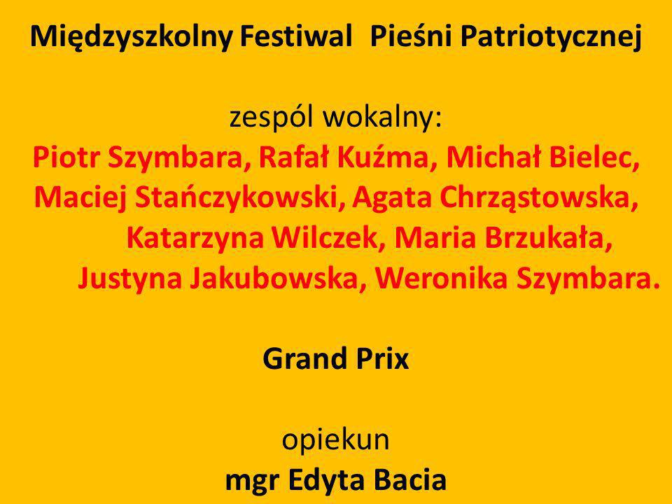Międzyszkolny Festiwal Pieśni Patriotycznej zespól wokalny: