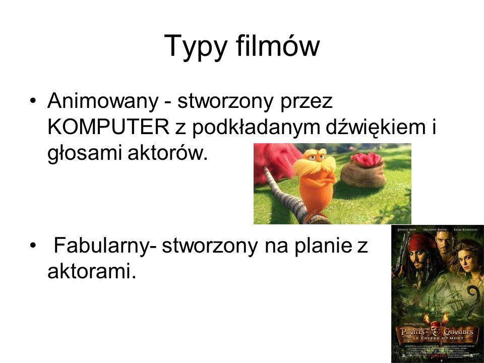 Typy filmów Animowany - stworzony przez KOMPUTER z podkładanym dźwiękiem i głosami aktorów.