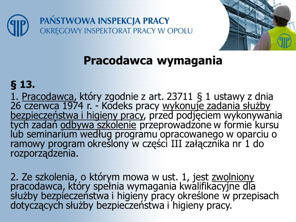 Pracodawca wymagania § 13.