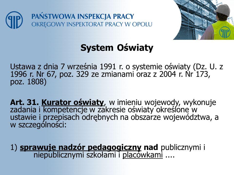 System Oświaty Ustawa z dnia 7 września 1991 r. o systemie oświaty (Dz. U. z 1996 r. Nr 67, poz. 329 ze zmianami oraz z 2004 r. Nr 173, poz. 1808)