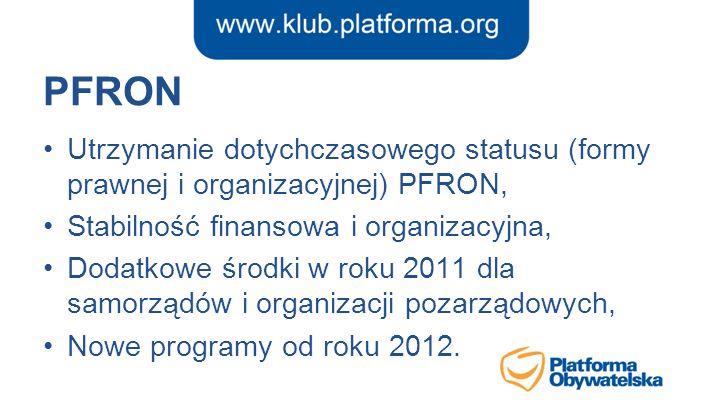 PFRON Utrzymanie dotychczasowego statusu (formy prawnej i organizacyjnej) PFRON, Stabilność finansowa i organizacyjna,