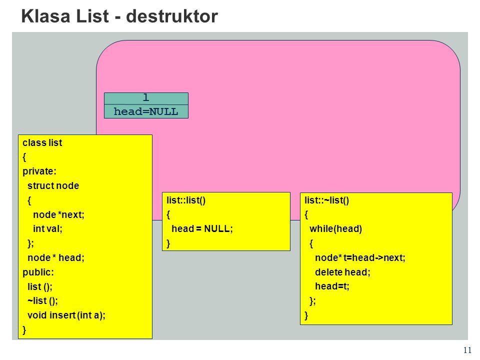 Klasa List - destruktor