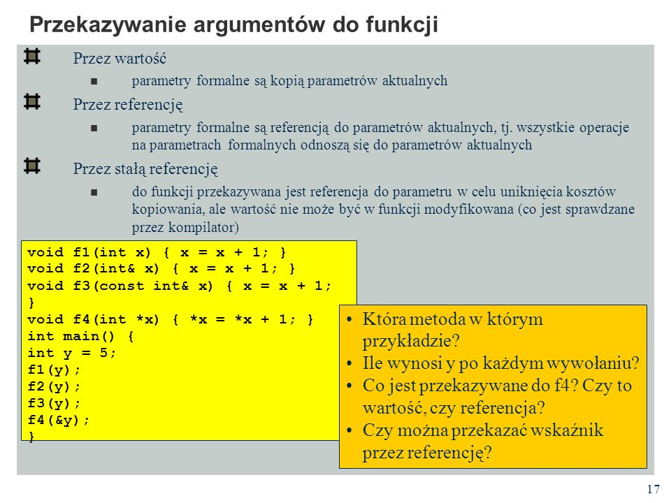 Przekazywanie argumentów do funkcji
