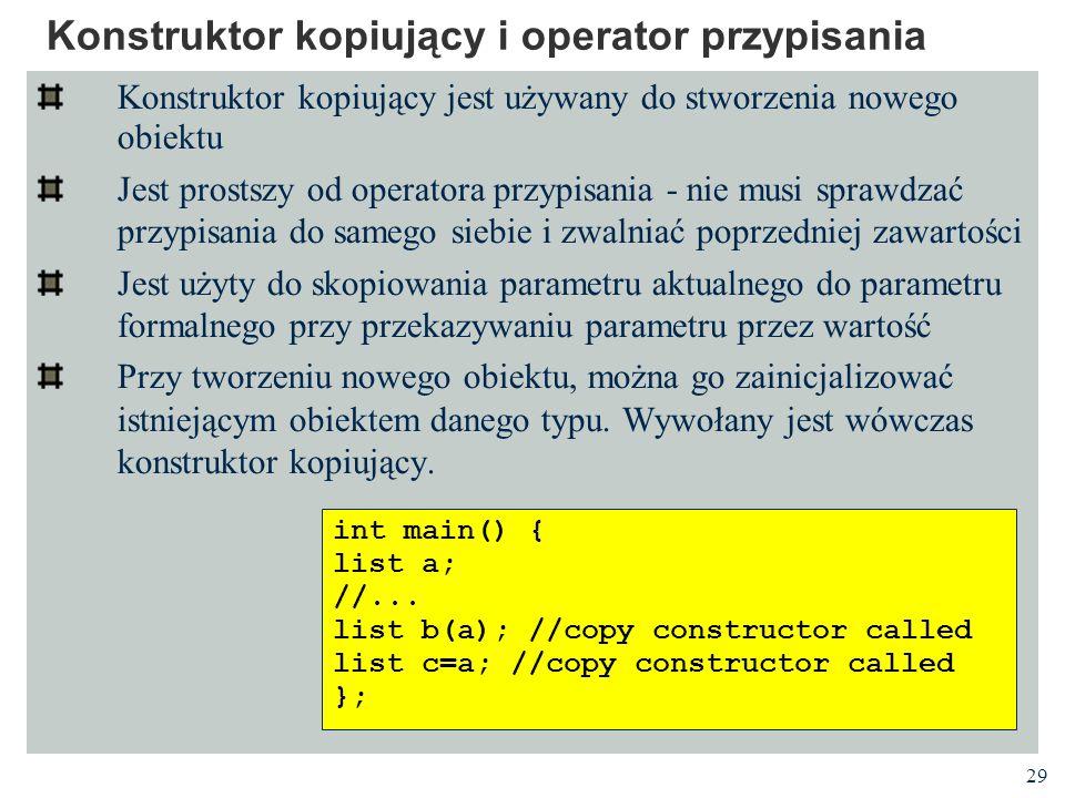 Konstruktor kopiujący i operator przypisania