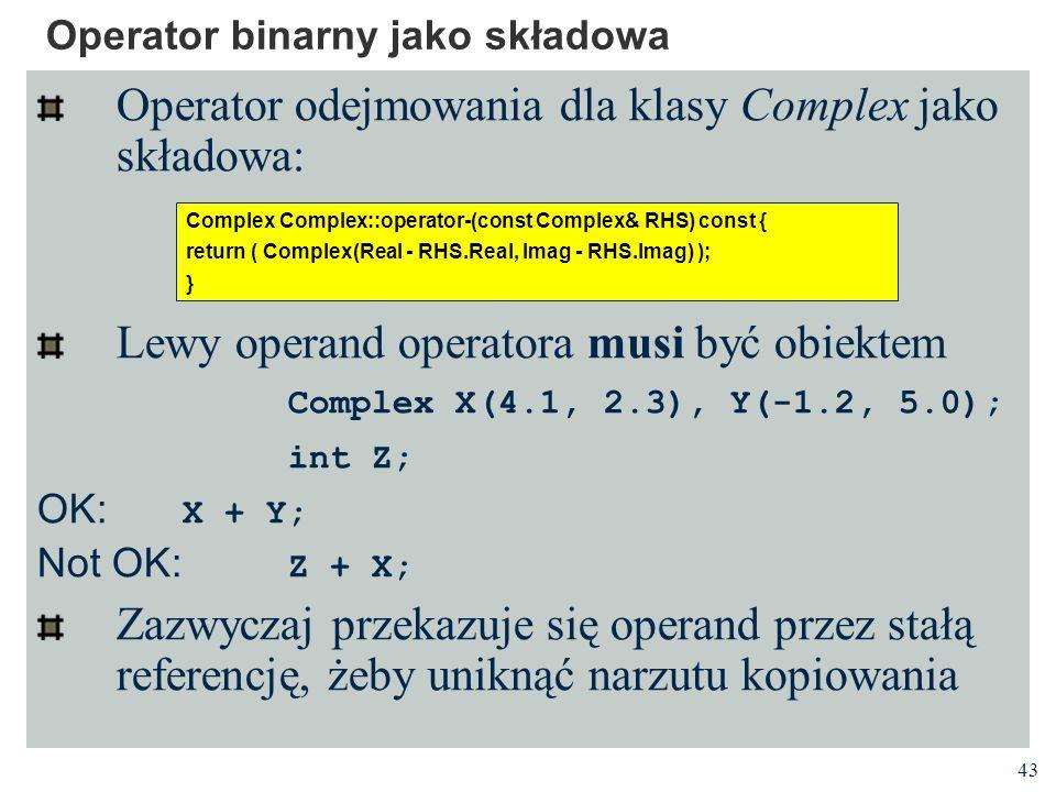 Operator binarny jako składowa