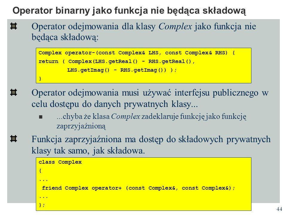 Operator binarny jako funkcja nie będąca składową
