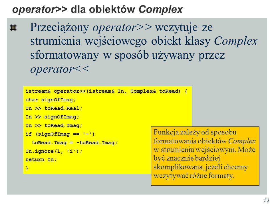 operator>> dla obiektów Complex